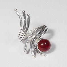 Fascinating Design  _ Garnet Stone 925 Sterling Silver Overlay Adjustable Ring #VKSilvexJaipur #Ring
