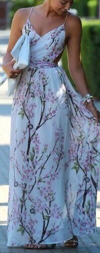 Cherry blossom on a maxi dress. Just my type of dress. In love