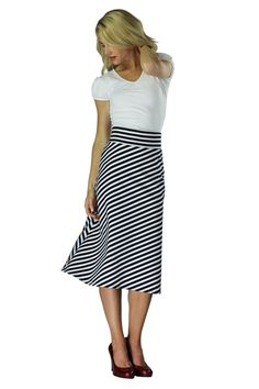 Modest Midi Skirts in Black and White Stripes