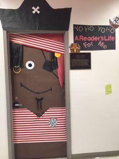 Pirate themed classroom door (incorporated door handle as a hook)