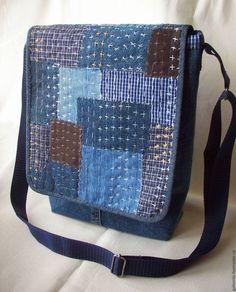 Сумки и аксессуары ручной работы. Ярмарка Мастеров - ручная работа. Купить Джинсовая сумочка в стиле Боро 2. Handmade. Синий