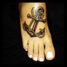 """Tattoos on your foot = not bad at all (coming from personal experience).  This one is neat with the rope subtly forming an """"L""""..."""