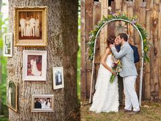 Love the family wedding photos displayed on a tree