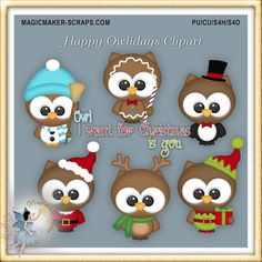 Christmas Owl Clipart Happy Holiday by MagicmakerScraps on Etsy
