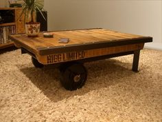 Industrial Factory Cart Coffee Table  just love this..! This could be awesome in the right room ..maybe a game room.?