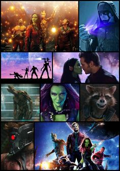 Guardians of the galaxy movie collage - Starlord - Rocket - Groot - Gamora - Drax - Peter Quill - Ronan