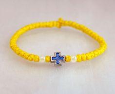 Tiny Yellow Cotton Prayer Rope Bracelet with beads by BYZANTINO