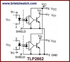 TLP2662 optocoupler internal schematic.
