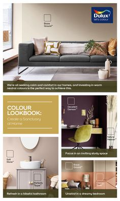 Dulux Paint Colours Neutral, Warm Paint Colors, Neutral Color Scheme, Soothing Colors, Neutral Tones, Office Color Schemes, Warm Color Schemes, Accent Wall Bedroom, Velvet Armchair