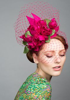 Rachel Trevor Morgan Millinery S/S 2015, R1577 Pink taffeta teardrop with silk roses and veil