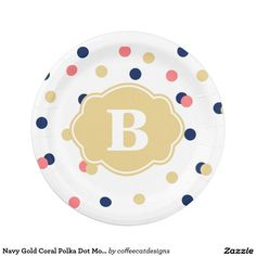 Navy Gold Coral Polka Dot Monogram Paper Plate
