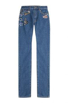 Marc Jacobs Marc Jacobs Straight-Leg-Jeans mit Applikationen – Blau