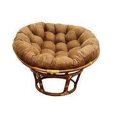 International Caravan Rattan 42 Inch Papasan Chair With Micro Suede Cushion