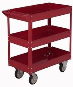 """NEW RED ROLLING METAL 3 SHELF TOOL/SERVICE CART 30"""" x 16"""" x 32 ½"""" (FREE SHIP) Heavy duty sheet steel construction. 450 lbs. capacity. Solid rubber casters. This is the perfect heavy duty utility cart. 30""""Lx16""""Wx32-½""""H Three 3-½"""" depth shelves for plenty of storage. Smooth rolling 5 in. rubber casters. 450 lbs. load capacity. Tubular steel handle. Tough enamel finish."""