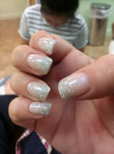 Neutral ombre glitter nails. With gold glitter for this weekend