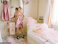 Pink bubbles - dreamy! Kate Moss in 'Checking Out' - Photographed by Tim Walker (Vogue US April 2012)