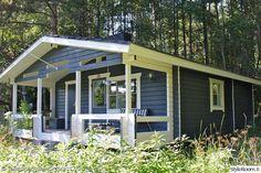 sininen,mökki,veranta