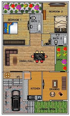 Ground Floor Plan for 30 X 50 Feet plot (Plot Size 133 Square Yards) One Level House Plans, 2bhk House Plan, Simple House Plans, Beautiful House Plans, Model House Plan, House Layout Plans, Family House Plans, Single Floor House Design, Home Design Floor Plans