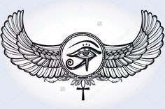 Vector illustration, tribal symbol of pharaoh, element of ancient Egypt design in linear style. The eye of god of sun Ra Horus with wings and ankh. Chalkboard - stock vector my next back of neck tattoo! Ankh Tattoo, Horus Tattoo, Leg Tattoos, Body Art Tattoos, Tribal Tattoos, Sleeve Tattoos, Tatoos, Vintage Tattoo Art, Kunst Tattoos