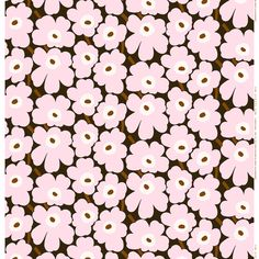 Marimekko's Mini Unikko fabric features the iconic floral pattern by Maija Isola in delicate shades of dark green, light pink and brown. The fabric is made of cotton which has been printed in Helsinki, Finland. Marimekko Wallpaper, Marimekko Fabric, Pink Brown, Pink And Green, Textures Patterns, Print Patterns, Fabric Design, Pattern Design, Textile Courses