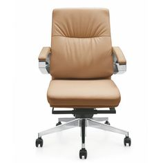 Lecong High Back New Office Brown Pu Leather Ergonomic Office Computer Chair  Adjustable Boss Chairs /