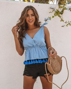 12684c66e91d Dorothy Gingham Tassel Top Pom Pom Trim, Neck Wrap, Vacation Outfits, Final  Sale. VICI
