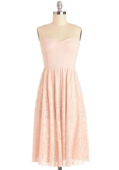 rehearsal dinner  Sunrise Swoon Dress by Motel - Knit, Mid-length, Pink, Solid, Lace, Special Occasion, Wedding, Graduation, Bridesmaid, A-line, Strapless, Be...