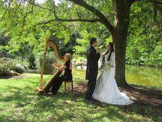 Somewhere in Time... a romantic moment for  Bride and Groom with The Elegant Harp' s harpist Esther Underhay. @Theelegantharp @Morikami @DelrayBeach #floridawedding #bride #groom #harp #weddingceremony #weddingmusic