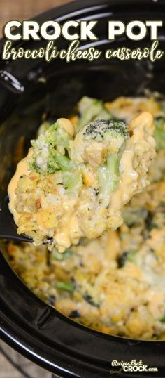 Crock Pot Broccoli Cheese Casserole is a delicious side dish slow cooker recipe perfect for holidays, potlucks or a special weeknight treat for family dinner! dinner ideas sides crock pot Crock Pot Broccoli Cheese Casserole - Recipes That Crock! Recetas Crock Pot, Crock Pot Recipes, Crockpot Dishes, Crock Pot Slow Cooker, Crock Pot Cooking, Beef Recipes, Cooking Recipes, Crockpot Meals, Cooking Time