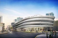 A rendering of Hadid's plans for a parking garage in Miami Beach.