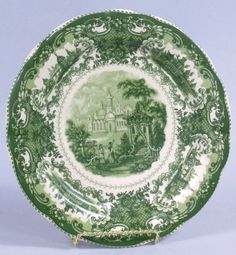 Green Castle Toile Porcelain Plate 10 inches