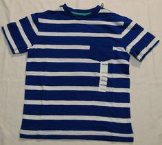 f31b463b06 NWT Old Navy Boys Blue White Striped SS Shirt Sz M 8 w pocket #OldNavy