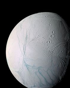 """Enceladus, a moon of Saturn A masterpiece of deep time and wrenching gravity, the tortured surface of Saturn's moon Enceladus and its fascinating ongoing geologic activity tell the story of the ancient and present struggles of one tiny world"""" Thane Plambeck"""