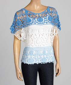 Take a look at the Turquoise & White Crochet Crop Top on #zulily today!