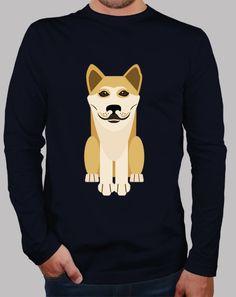 Camiseta hombre de manga larga de perro akita / shiba inu en latostadora