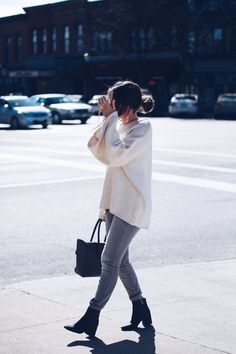 Cream Bell Sleeved Chunky Knit Sweater - Fashionably Kay