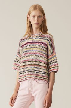Oversized multi-striped pullover with a round neckline and wide three-quarter sleeves. The pullover is knitted in Italy and is created by knitting 12 different yarns together, which gives a very unique structure and texture. Knitting Stiches, Sweater Knitting Patterns, Easy Knitting, Knitting Designs, Summer Knitting, Knit Fashion, Bunt, Ravelry, Knitted Hats