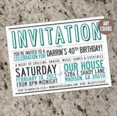 Mod Typography Party Invitation