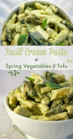 Basil Cream Pasta + Spring Vegetables & Tofu | Produce On Parade - A rich, fresh basil cream sauce melds with pasta, baked tofu, as well as steamed broccoli and asparagus. You can't go wrong with this luxurious #spring pasta dish. #vegan