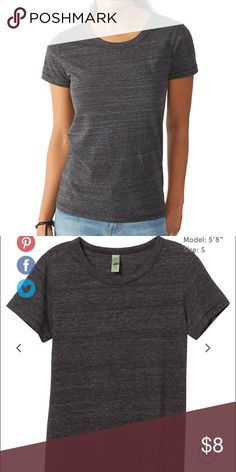 Alternative Apparel Eco Jersey t shirt Crafted from our signature Eco Jersey triblend, the Ideal Tee is a perfect go-to tee with a flattering straight body comfortable enough for the everyday. Eco-Jersey ™ 50% Polyester, 38% Cotton, 12% Rayon Blind Hem Stitching Detail Bound Neckband Imported Alternative Apparel Tops Tees - Short Sleeve