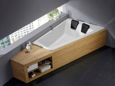 modern bathroom wood and grey | ... Wooden Towels Drawer Grey Wall Tubs For Two In Contemporary Bathroom