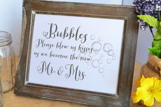 Wedding bubbles send off sign wedding reception by PicmatCards