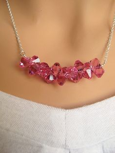 Crystal Ice Branch - Swarovski Hot Pink Fuschia Crystals sterling silver row necklace.