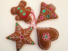 gingerbread ornament sewing pattern christmas tree ornament pdf pattern - Gingerbread Christmas Ornaments