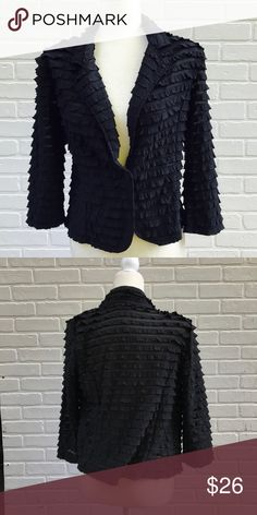 Black Ruffle Button Jacket One button in front. Padded shoulders. Jackets & Coats Blazers