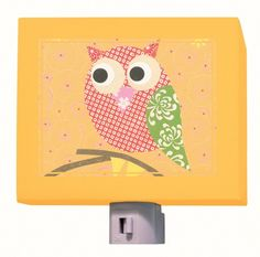 """Mod Owl on Orange"" kids night light by Rachel Taylor for Oopsy daisy, Fine Art for Kids $25"