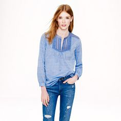 Embroidered bib peasant top in suckered stripe - Shirts & Tops - Women's 25% off what you need for spring - J.Crew