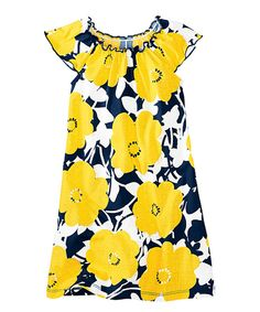 Look at this Navy & Warm Sun Floating Flower Dress - Infant, Toddler & Girls on #zulily today!