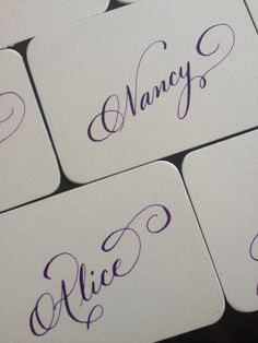Place cards in flourished copperplate by Halo Calligraphy www.halocalligraphy.com