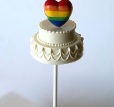 Rainbow Heart Wedding Cake Pop